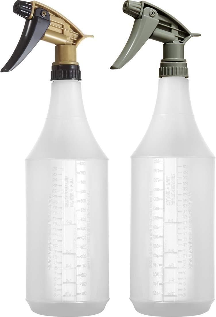 32 oz. Plastic Spray Bottle Set Auto Detailing Profesionals Fully Adjustable Acid/Chemical Resistant Head Sprayers, Graduated Dillution Scale, Heavy Duty Bar5F