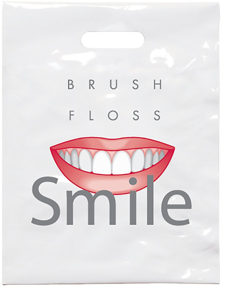 Practicon 1109631 Brush Floss C Patient Care Bags, 9'' x 12'' (Pack of 100)