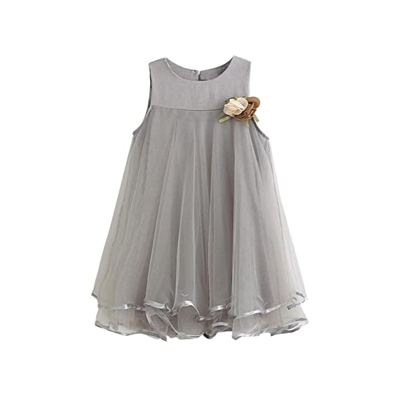 Niña Princesa Vestido,Sonnena Encaje Vestido de sin Manga para bebé niña Flores Vestido Estilo