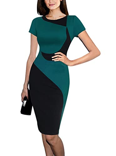Colyanda Women's Elegant Colorblock Wear to Work Business Stretch Pencil Dress