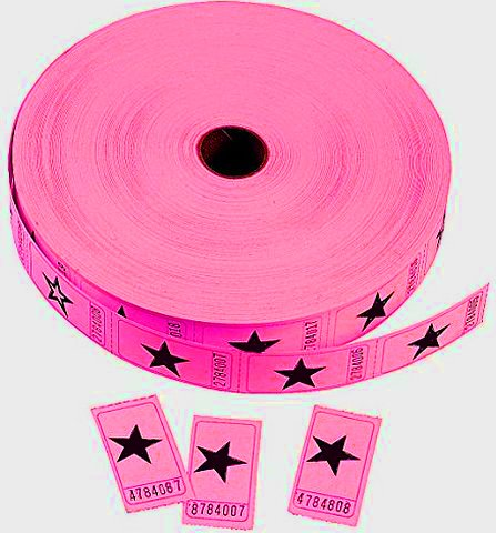 UPC 638932573561, GIFTEXPRESS® Roll of 2000, Pink Star Single Roll Tickets/Carnival Tickets/Sequentially Numbered Raffle Tickets