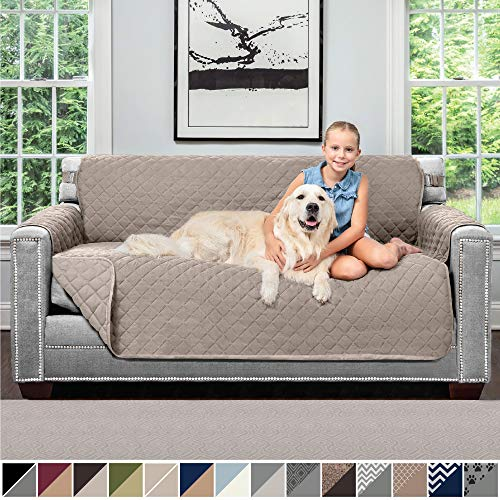 Sofa Shield Original Patent Pending Reversible Small Sofa Protector for Seat Width up to 62 Inch, Furniture Slipcover, 2 Inch Strap, Couch Slip Cover Throw for Pet Dogs, Cats, Sofa, Light Taupe