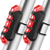 Bike Tail Light USB Rechargeable 2 Pack, Ultra Bright Bicycle Tail Light Flashlight Water Resistant 4 Light Modes Used for Bicycles, Helmets or Backpacks