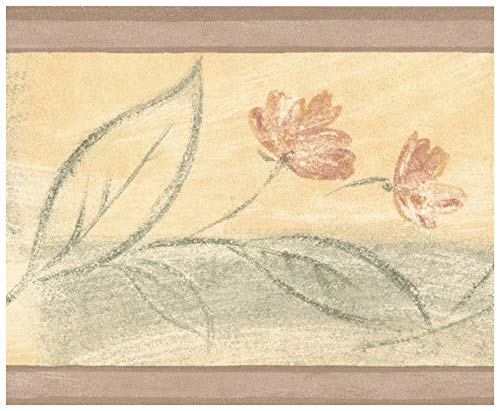 (Wall Border - Faux Painted Flowers Abstract Yellow Green Wallpaper Border Retro Design, Prepasted Roll 15 ft. x 7 in.)