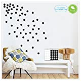 Black Wall Decals Polka Dots Vinyl Wall Stickers Round Circle Art Stickers Removable Metallic Hanging Decor Decorations for Nursery Room(200 Decals circles)