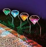 ダイヤモンドタイプ ガーデンライト 4個セット LEDライト ソーラーライト 屋外 ガーデニング