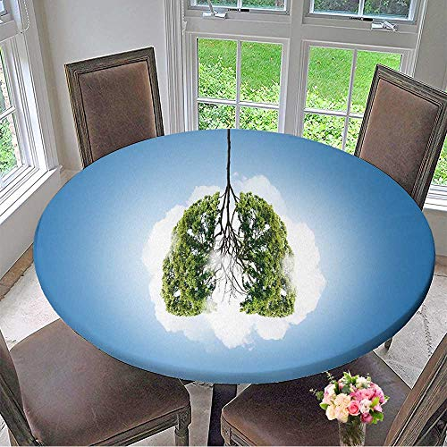 Round Tablecloth Conceptual Image of Green Tree Shaped Like Human Lungs for Kitchen 31.5