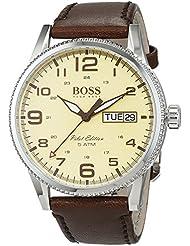 Hugo Boss Pilot Vintage 1513332 Brown / Parchment Cream Leather Analog Quartz Mens Watch