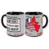 BERLIN Coffee Mug Germany Retro Coffee Cup Checkpoint Charlie 4 Sectors Allies Souvenir 4x3 inch