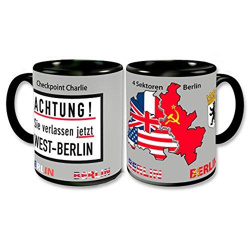 BERLIN Coffee Mug Germany Retro Coffee Cup Checkpoint Charlie 4 Sectors Allies Souvenir 4x3 inch - Check Souvenir Cup