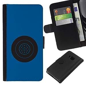 Be-Star la tarjeta de Crédito Slots PU Funda de cuero Monedero caso cubierta de piel Para HTC One M9 ( Blue Button Circle Star System Grey )