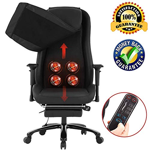 Swivel Massage Chair Office Recliner Chair Desk Task Ergonomic Executive Recliner High Back Computer Gaming Chair Back Support with Lumbar Massage Retractible Footrest Headrest