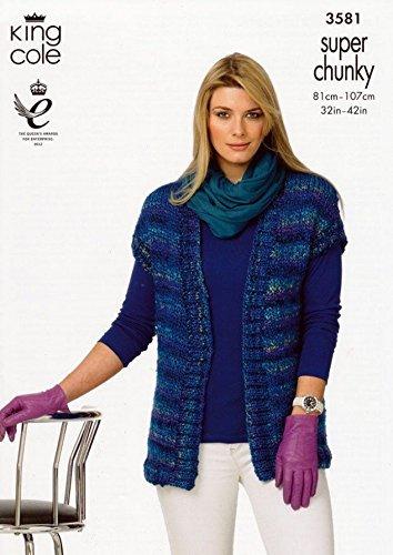 King Cole Ladies Waistcoats Gypsy Super Chunky Knitting Pattern 3581 by King Cole by King Cole