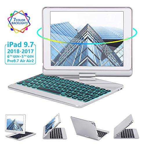 iPad Keyboard Case 9.7 for iPad 2018 (6th Gen) - 2017(5th Gen) - iPad Pro 9.7 - Air 2 & 1, 360 Rotate 7 Color Backlit Wireless/BT iPad Case with Keyboard, Auto Sleep Wake, 9.7 inch, Silver (Silver Air Ipad 1)