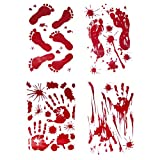 42PCS Horror Bloody Handprints&Footprints Stickers Halloween Decor Vampire Zombie Party Decorations Decals Stickers Supplies