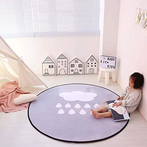 HOUTBY Round Crystal Velvet Baby Play Mat Cute Cartoon Kids Rug Household Carpet Child Tent Nursery Rooms Decoration 80cm//Stars