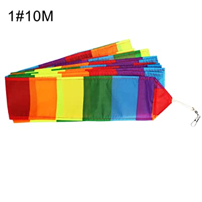 LeSharp Kite Tail Line, 10/15/30m Rainbow Color Blocking Long Kite Tail Line Outdoor Sports Accessory 1#: Toys & Games