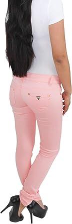 Sotala damskie jeansy rurkowe spodnie biodrowe spodnie stretch skinny Slim Fit dżinsy rÓżowe: Odzież