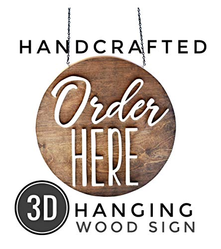 ORDER HERE sign - hanging round wood business sign for restaurant cafe coffee shop storefront interior ()