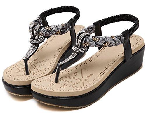 Bohemia Brillante Diamantes Sandalias De BIGTREE Mujer Plataforma Zapatos Sandalias de Correa Elástica Negro