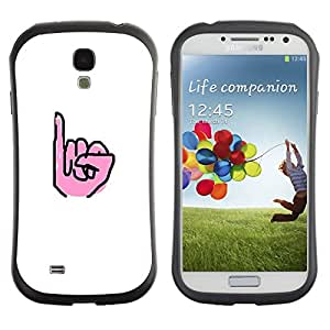 LASTONE PHONE CASE / Suave Silicona Caso Carcasa de Caucho Funda para Samsung Galaxy S4 I9500 / White Hand Deaf Sign Minimalist