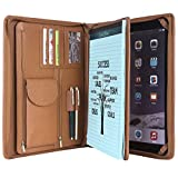 Cowhide Portfolio Handmade Padfolio Genuine Full Litchi Grain Leather Organizer Business Card Holder Office Conference Briefcase Case Zippered A4 Folder for iPad Pro 12.9 inch (Brown)