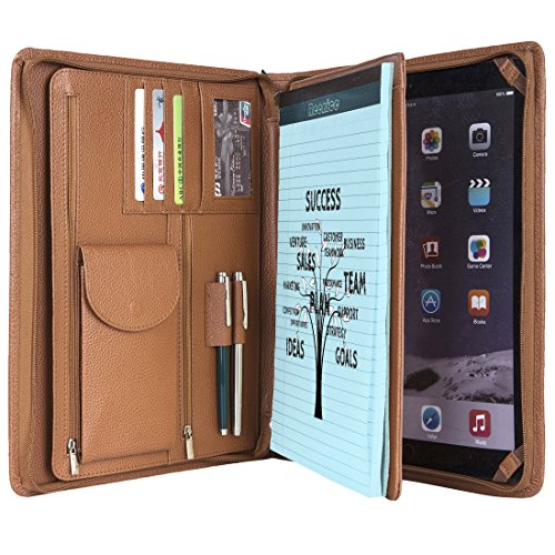 Cowhide Portfolio Handmade Padfolio Genuine Full Litchi Grain Leather Organizer Business Card Holder Office Conference Briefcase Case Zippered A4 Folder for iPad Mini Series (Brown)