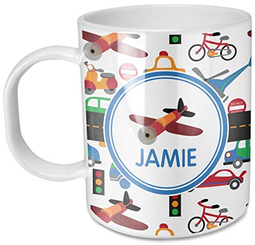Personalized Plastic Mugs - Transportation Plastic Kids Mug (Personalized)