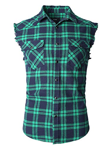 [NUTEXROL Men's Casual Flannel Plaid Shirt Sleeveless Cotton Plus Size Vest(Navy&Green/XL)] (Green Plaid Flannel Shirt)