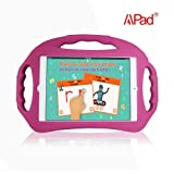 Apad Kid-friendly Lightweight Super Protection Case for Apple iPad Air / iPad 5 Air/ iPad 5th Generation Tablet with Stand (Food Grade Child-Safe Silicone Kickstand Case with 3 Handles)