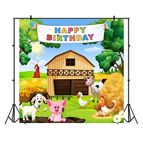 Leowefowa 10x10ft Vinyl Photography Backdrop Cartoon Barnyard Farm Animals Birthday Party Banner Farmhouse Birthday Background Event Party Decoration Portrait Photo Shoot Studio Photo Booth Props