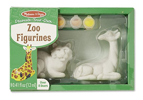 Melissa & Doug Decorate-Your-Own Zoo Figurines Craft Kit - Paint a Giraffe and Lion