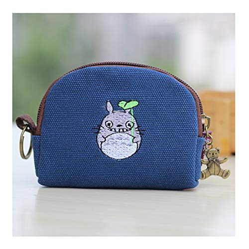 Cute Youth Korean Japanese Style Canvas Novelty Wallet Coin Purse Credit Card Photo Bill Key Holder (Dark Blue Embroidery Totoro)