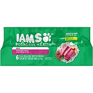 IAMS PROACTIVE HEALTH Adult Multipack With Beef and Rice Pate Wet Dog Food 13.0 Ounces (Pack of 6)
