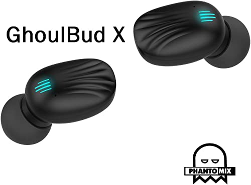 GhoulBud X – True Wireless Earbuds, Realtk, Bluetooth Earphones, Wireless Headphones, Bluetooth 5.0 Deep Bass, 150 H Battery Charge, IPX7 Waterproof, Quality Stereo in-Ear Headphones Black