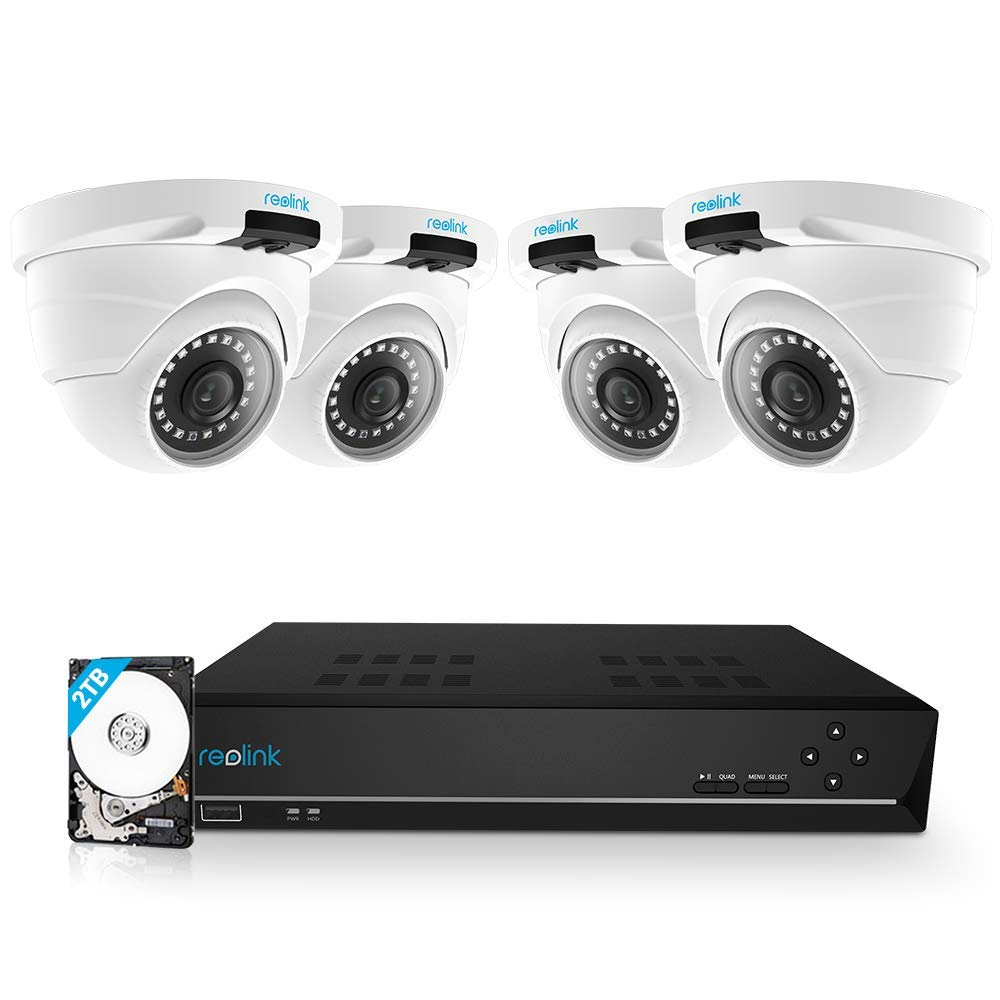 Reolink 8CH 5MP PoE Home Security Camera System, 4pcs Wired 5MP Outdoor PoE IP Cameras, 5MP 8-Channel NVR Security System with 2TB HDD for 24 7 Recording, RLK8-420D4-5MP