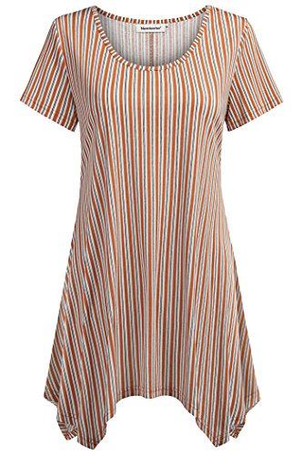 (Nandashe Ladies Tops, Summer Western Rayon Round Neck Irregular Hem Asymmetrical Loose Fit Tunic Tops Mother's Gifts Medium Orange)