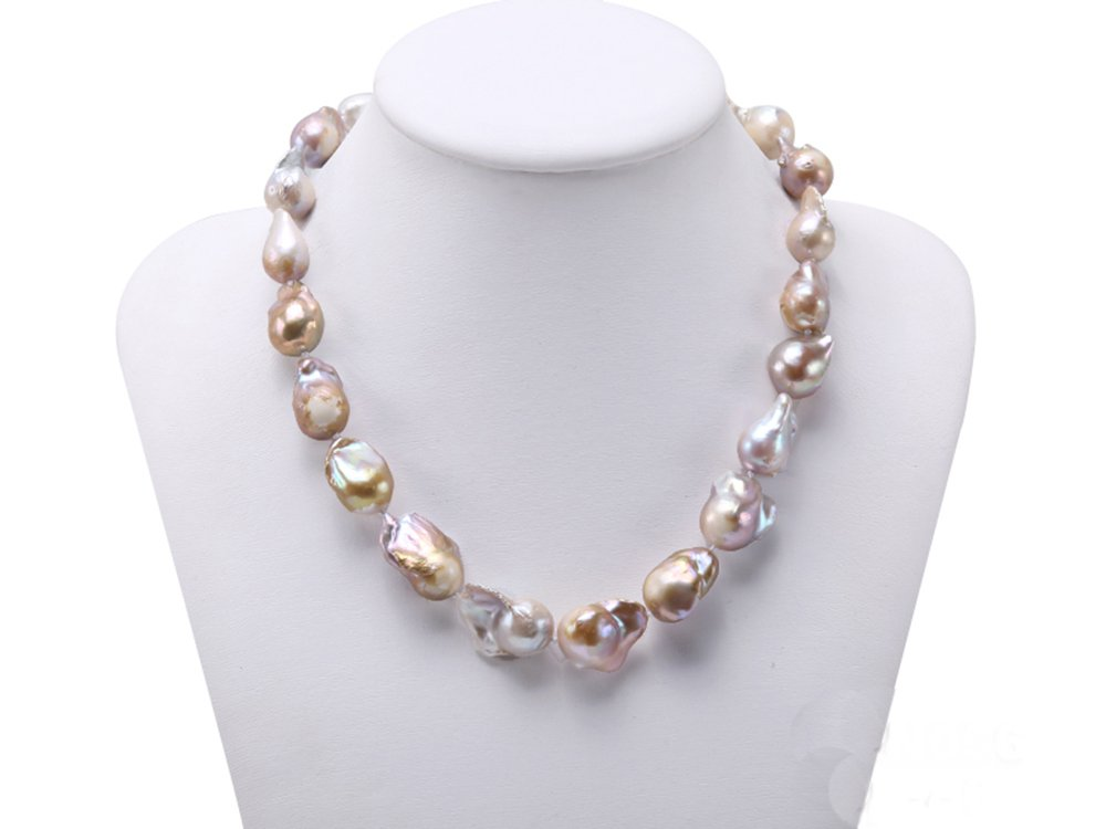 JYX 12-13.5mm Freshwater Cultured Natural Champagne Baroque Pearl Necklace 18.5inches