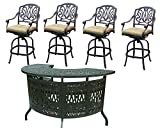 Elisabeth Cast Aluminum Patio Bar Sets with Bar Stools Outdoor Swivels Antique Desert Bronze