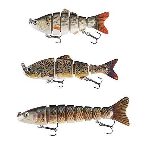 FlyBoll 3pcs Multi Jointed Fishing Lure Hard Lure Bass Bait Wobblers Lifelike Swimbait with Treble Hooks, Crankbaits Baits Kits in Tackle Box for Freshwater Fishing