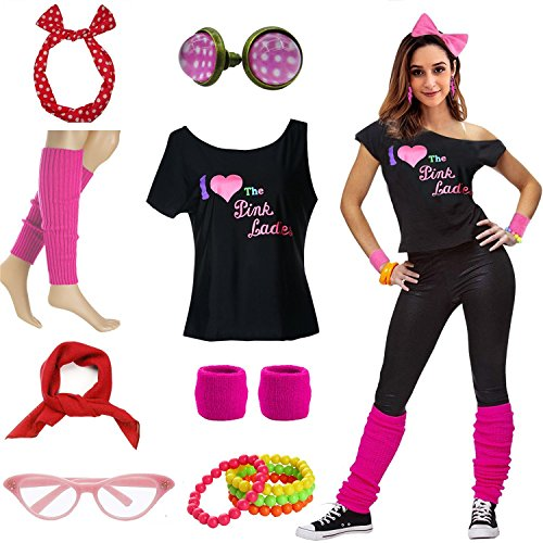 Mygoodie Women Pink Lady T-Shirt 50's Costume Accessories Outfit (L/XL, Hot Pink) -
