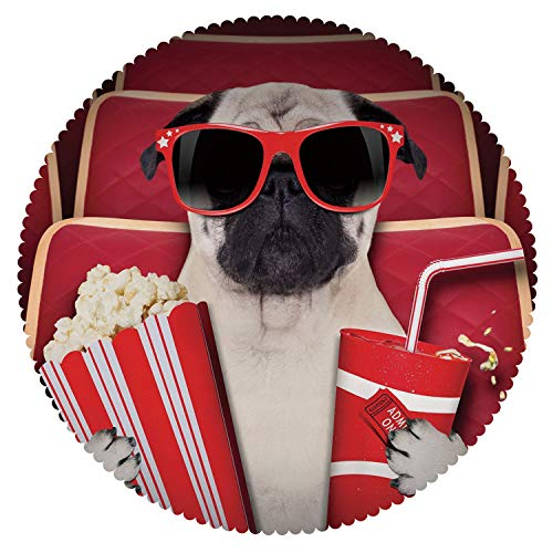 Unique Round Tablecloth [ Pug,Funny Dog Watching Movie Popcorn Soft Drink and Glasses Animal Photograph Print,Red Cream Ruby ] Home Accessories Set