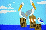 Cheap Jellybean Pelicans Perched on Pier Coastal Washable 21 X 33 Inches Area Accent Rug