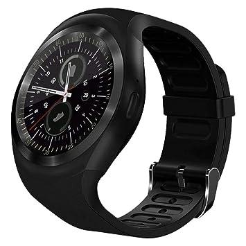 Chansted Reloj Inteligente Y1 Bluetooth V3.0 Reloj portátil con Soporte Redondo para Llamadas Podómetro Smartwatch (Negro)