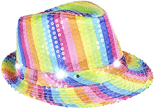 Flashing Neon Rainbow Pimp Gangster Blues Brothers Fedora Hat Costume Accessory