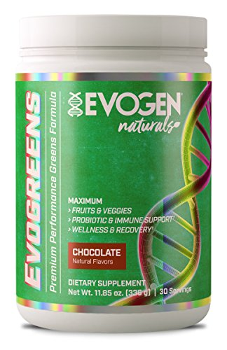 Evogen Evogreens | Premium Performance Greens Superfood, Spirulina, Pomegranate, Probiotics, Kale | 30 Servings ... (Chocolate, 30 Servings)
