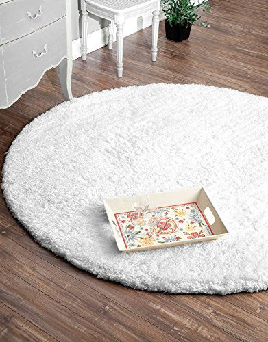 nuLOOM Hand Tufted Maginifique Shag Area Rug, 6' Round, Snow ()