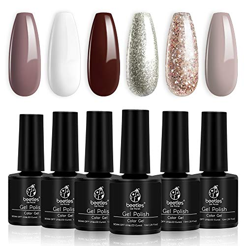 Beetles Holiday UV Gel Nail Polish Set - 6 Colors Burgundy Red Champagne Gold Gel Polish Kit Snow White Nude Grey Nail Gel Polish Soak Off LED Gel Nail Manicure Kit DIY Home Gift Box