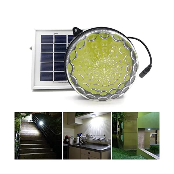 51kM0diGx7L. SS600  - ROXY-G2 Solar Outdoor/ Indoor Lighting Kit with Lithium Battery, Photo Sensor for Auto On/ Off, 3-Level Brightness Control, 15ft Cable, for Garage / Workshop / Cabin / Yard / Shed Light