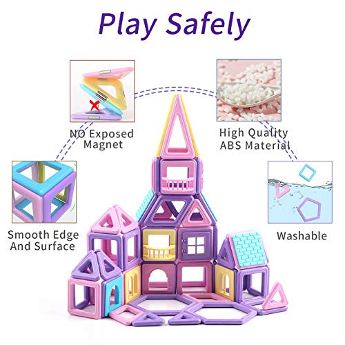ASOK Magnetic Blocks 124 Pcs Mini Castle Building Tiles STEM Educational Construction Toys for Kids Age 4 5 6 7 8 9 Years Old Girls Boys Gifts